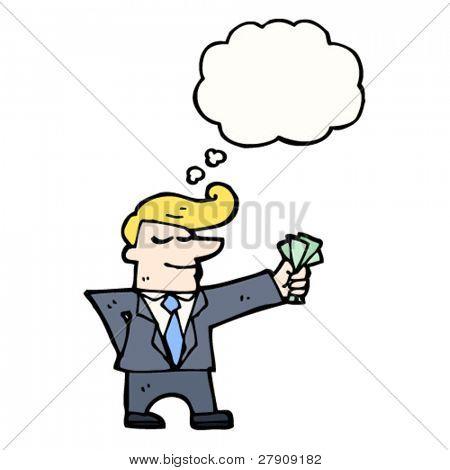businessman holding cash cartoon
