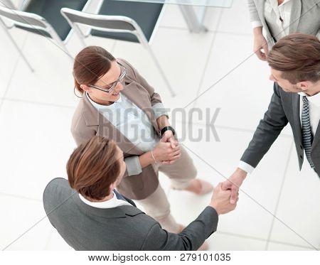 top view.handshake business partners