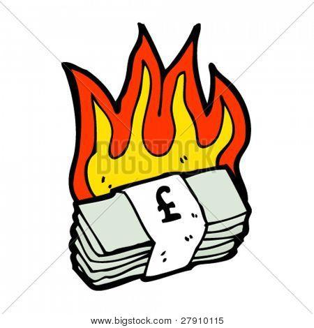 burning stack of money cartoon