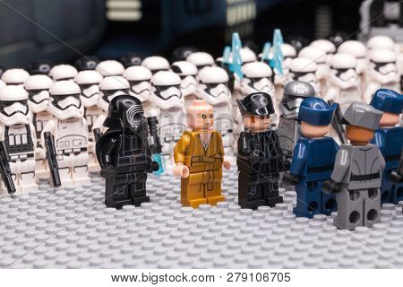 RUSSIAN, SAMARA - JANUARY 17, 2019. LEGO STAR WARS. Minifigures Star Wars Characters - Episode 7, Kylo Ren, Phasma, Snoke, Hux and Squad of stormtroopers