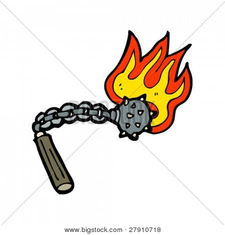 flaming ball on chain cartoon