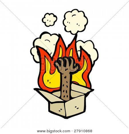 burning box with hand cartoon