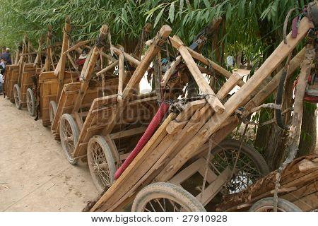 Chinese donkey carts, in Kashgar