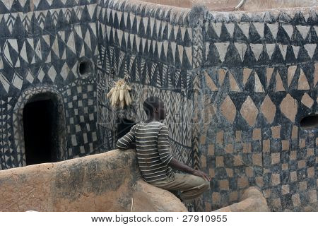 A village man of the painted city of Tagasango, Benin, Africa