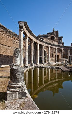 Roman columns in Villa Adriana Tivoli Italy poster