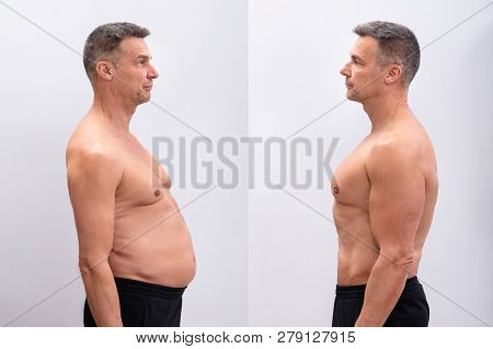 Side View Of A Mature Man Before And After Loosing Fat On White Background. Body Shape Was Altered D