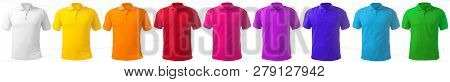 Blank Collared Shirt Mock Up Template, Front  View, Isolated On White, Plain T-shirt Mockup In Many