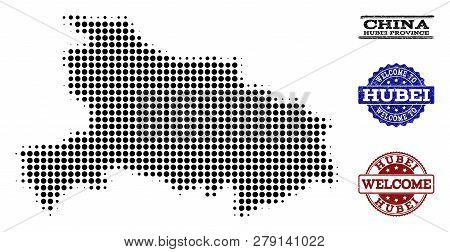 Welcome Composition Of Halftone Map Of Hubei Province And Rubber Seals. Halftone Map Of Hubei Provin