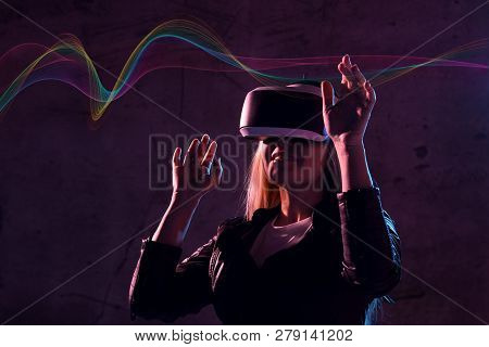 Young Girl Play Virtual Reality Game Wear Vr Glasses And Explore Alternative Reality. Woman In Cyber