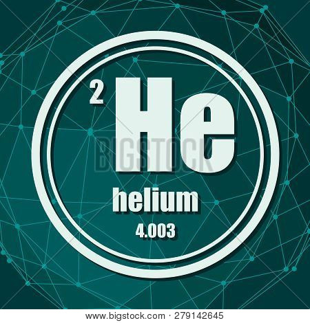 Helium Chemical Element. Sign With Atomic Number And Atomic Weight. Chemical Element Of Periodic Tab