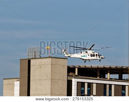 Gosford, New South Wales, Australia - December 28, 2018: Air Ambulance Helicopter Landing At Gosford