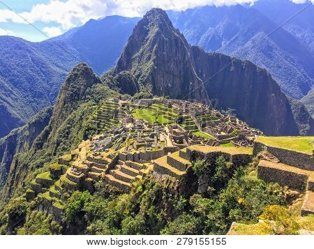 A Beautiful Full View Of Machu Picchu From A Medium Distance From The Perspective Of Machu Picchu Mo