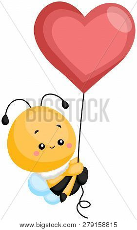 A Bee Floating Up With A Heart Balloon