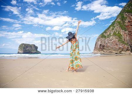 Dancing Woman In Ballota Beach