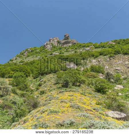 Spring Landscape With Central Stone Figures In Valley Of Ghosts In Crimea Near Alushta Resort