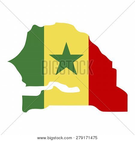 map of Senegal with flag inside. Senegal map vector illustration poster