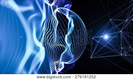 Structure of waving lines with lights and particles over it. Blue and purple abstract technology, engineering and science background. Depth of field settings. 3D rendering.