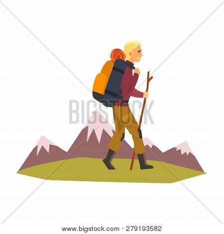Man Walking With Backpack And Stuff, Summer Mountain Landscape, Outdoor Adventures, Travel, Camping,