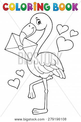 Coloring Book Flamingo With Love Letter - Eps10 Vector Picture Illustration.