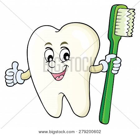 Tooth Holding Toothbrush Theme Image 1 - Eps10 Vector Picture Illustration.