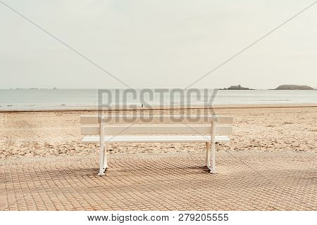 French Landscape - Dinard. Park Bench In Dinard With View Over The Beach And Ocean.