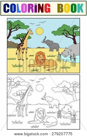 Children Drawing. Animals Of Africa, Mainland Mammals, Zoo. Vector Color And Black And White Colorin
