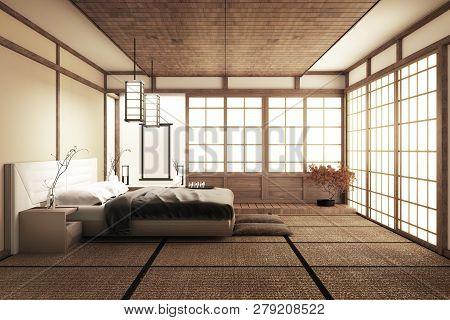 Modern Peaceful Bedroom. Zen Style Bedroom. Serene Bedroom. Wood Bed With Tatami Floor Japanese Styl