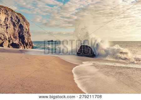 French Landscape - Waves. Breton Beach In Quiberon In The Evening With Heavy Waves.