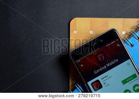 Bekasi, West Java, Indonesia. January 18, 2019 : Garena Dev App On Smartphone Screen. Garena Is A Fr