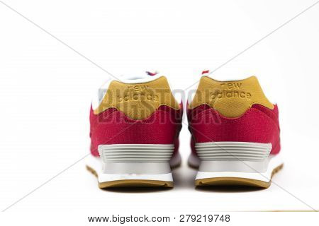 Boston, Ma, Usa, January 2019 - New Balance Nb 574 Athletic Shoes On White Background. New Balance A