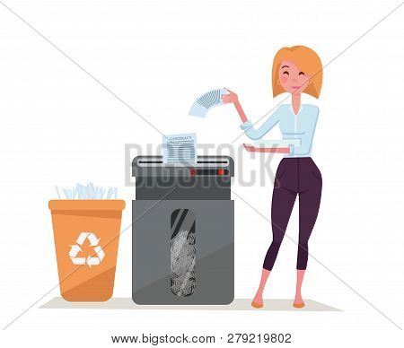 Office Worker Young Stylish Woman Shredding Stack Of Documents. Paper Waste In Plastic Recycling Bin