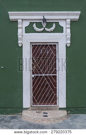 Carnavon, South Africa, September 1, 2018: Close-up Of The Entrance Of An Historic Building In Carna