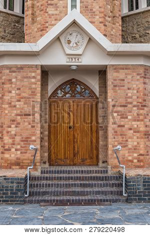 Carnavon, South Africa, September 1, 2018: Main Entrance Of The Dutch Reformed Church In Carnavon In
