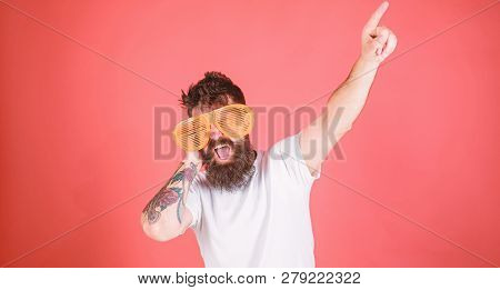 Man Bearded Hipster Wears Giant Louvered Sunglasses. Sunglasses Accessory Gives Incredible Feeling O