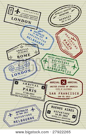 Various colorful visa stamps (not real) on a passport page. International business travel concept. Frequent flyer visas. poster