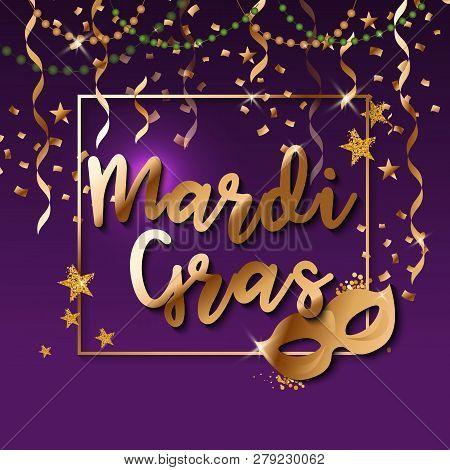 Mardi Gras Gold Glitter Text With Sparkles. Fleur-de-lis Lily Symbol For Masquerade Carnival. Americ