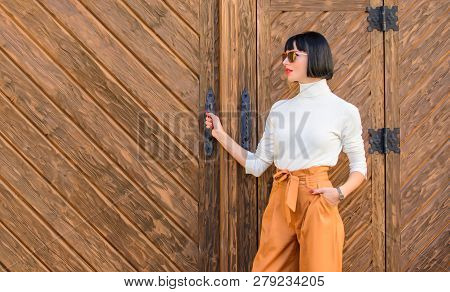 Fashionable Outfit Slim Tall Lady. Fashion And Style Concept. Woman Walk In Elegant Outfit. Woman Fa