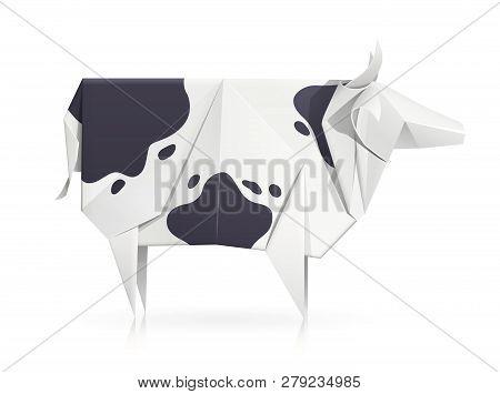 Cow. Paper Origami Toy. Handmade Bull. Handicraft Art. Horny Animal. Isolated White Background. Eps1