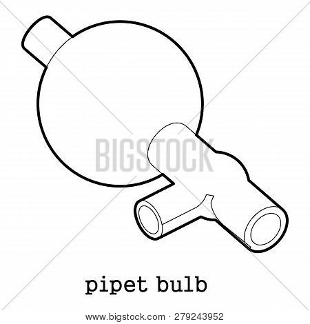Pipet Bulb Icon In Outline Style Isolated On White Background Illustration