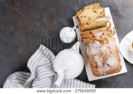 Fruit Cake With Raisin, Sliced Fruitcake, Top View