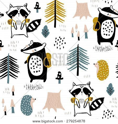 Seamless Childish Pattern With Tourist Raccoon With Beaver In The Forest. Creative Kids Woodland For