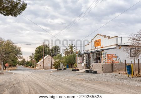 Vosburg, South Africa, September 1, 2018: A Street Scene, With A Coffee Shop And Craft Shop, In Vosb