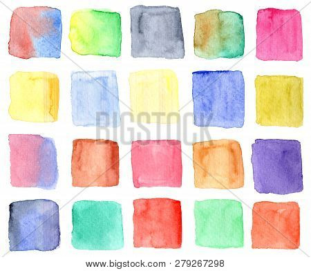 Set Of Bright Watercolor Colorful Squares Isolated On White Background. Cute And Funny Textured Hand
