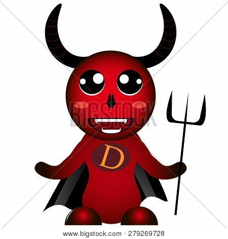 Red Colorful Devil Diablo Monster Mutant With Trident Cute Vector Doodles.kawaii Image.smile Lucifer