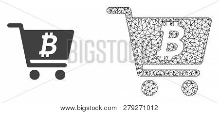 Polygonal Mesh Bitcoin Webshop And Flat Icon Are Isolated On A White Background. Abstract Black Mesh