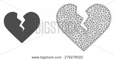 Polygonal Mesh Divorce Heart And Flat Icon Are Isolated On A White Background. Abstract Black Mesh L