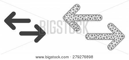 Polygonal Mesh Exchange Arrows And Flat Icon Are Isolated On A White Background. Abstract Black Mesh