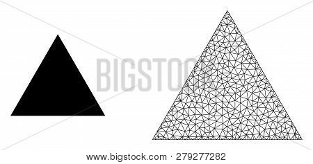 Polygonal Mesh Filled Triangle And Flat Icon Are Isolated On A White Background. Abstract Black Mesh