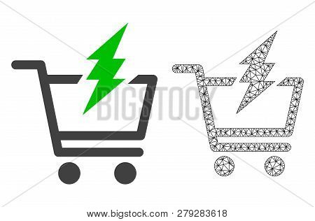 Polygonal Mesh Proceed Purchase And Flat Icon Are Isolated On A White Background. Abstract Black Mes