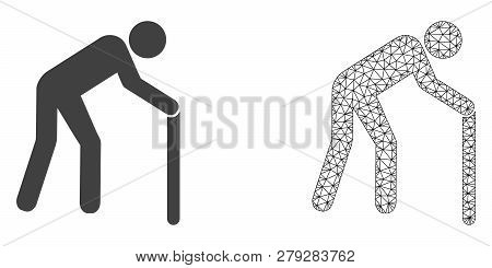 Polygonal Mesh Retired Persona And Flat Icon Are Isolated On A White Background. Abstract Black Mesh